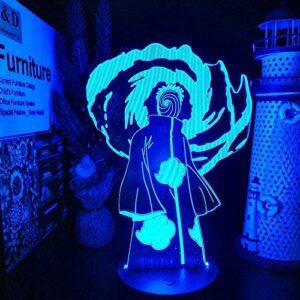 FYLART Anime lumière Anime Naruto 3D lampe visuelle Obito Sharingan LED veilleuse dessin animé changement de couleur lumière Lampara bébé lampe lampe cadeau