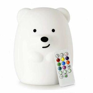 Grande veilleuse ours – Veilleuse pour bébé / lumière de chambre à coucher / lumière pour enfants et tout-petit, réglage de l'heure, luminosité et couleur réglables, tactile + télécommande – grande