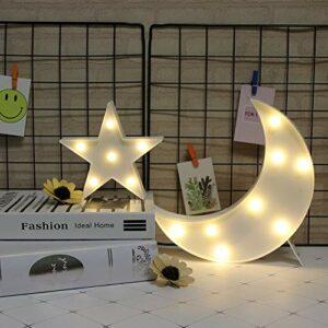GUOCHENG Jolie lampe de chevet à LED en forme de lune et d'étoile fonctionnant sur piles pour chambre d'enfant, chambre d'enfant, veilleuse debout (lune blanche et étoile blanche)