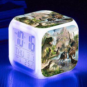 HHCYY Dinosaure Réveil Pour Enfants Réveil Wake Up Light Réveil Lampe De Chevet Enfant Réveil Enfant Garçon Fille Led Multifonctionnel Coloré Réveil Horloge Veilleuse Pour Cadeau (D345)