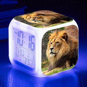 HHCYY Lion Réveil Enfant Garçon Réveil Numérique Pour Les Filles Wake Up Light Horloge De Chevet Avec La Veilleuse Led Horloge À Changement De Couleur Cadeaux D'Anniversaire (K211)