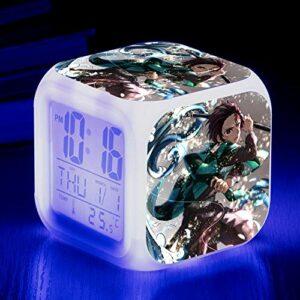 HHCYY Réveil Numérique Enfant Fille Veilleuse Garcon Reveil Matin Wake Up Light Cube Lumineux Digital Alarm Clock Cadeau D'Anniversaire Pour Adultes Chambre Anime Alarm Clock (Da52)