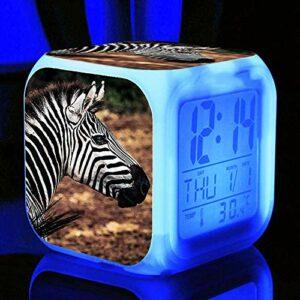 HHCYY Réveils Enfants Zebra Réveil Wake Up Light Réveil Lampe De Chevet Enfant Réveil Enfant Garçon Fille Led Multifonctionnel Coloré Réveil Horloge Veilleuse Pour Cadeau (D305)