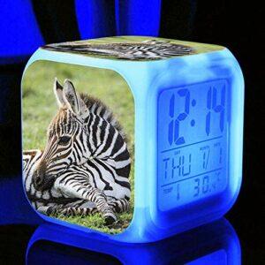 HHCYY Réveils Enfants Zebra Réveil Wake Up Light Réveil Lampe De Chevet Enfant Réveil Enfant Garçon Fille Led Multifonctionnel Coloré Réveil Horloge Veilleuse Pour Cadeau (D309)