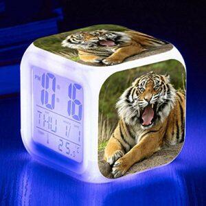 HHCYY Tigre Réveil Enfant Garçon Réveil Numérique Pour Les Filles Wake Up Light Horloge De Chevet Avec La Veilleuse Led Horloge À Changement De Couleur Cadeaux D'Anniversaire (K10)