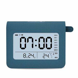 HIL La Créativité Intelligent Réveil pour Enfants Veilleuse De Dessin Animé pour Enfants Réveil Numérique LED De Chargement Horloge Digitale Veilleuse Horloge De Chevet Charge Veilleuse,Bleu