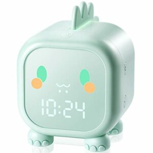Homealexa Réveil pour enfants – Dinosaure – Réveil numérique avec mode snooze – Lumière de nuit pour chambre à coucher – Veilleuse de nuit – Avec température – Pour garçons et filles – Vert