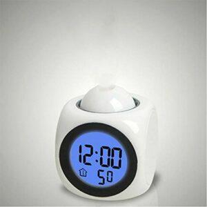 IANSISI Réveil veilleuse , avec Lampe de projecteur, température vocale, Heure numérique , Projection sur Le revêtement Mural pour la décoration de Table à la Maison , Veilleuse LED