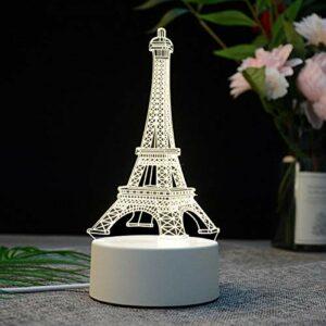 IANSISI Veilleuse électrique LED Cerf Tour Eiffel Table Acrylique Bureau Chambre , Décor Cadeau Lampe Blanc Chaud Décoration De Noël , Veilleuses LED