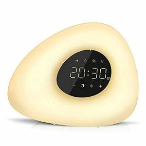 LTLJX Dessin animé réveil réveil réveil Lumière avec 10 Nature Sounds 7 Couleurs Lumière Touch Control Dimmable Lampe de Nuit LUDEQUAN