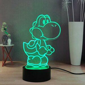 Mario Super Yoshi Veilleuse 3D, Île de Yoshi 16 couleurs Décor de lampe de table de bureau, Télécommande Smart Touch Chambre pour Enfants, adolescents, Anniversaire Noël Lumière