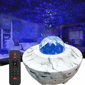 Projecteur Ciel Étoilé, Amouhom Veilleuse étoile Lampe de Rotatif Vidéo Projecteur de Nuage, Veilleuses Télécommandées, Lecteur Musique à Couleurs pour les fêtes de Noël, de pâques ou d'Halloween