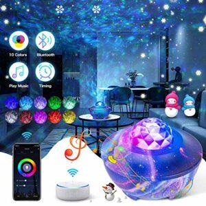 Projecteur Ciel Étoilé Lampe Projecteur Projecteur Étoiles Veilleuse Enfant LED Bluetooth avec télécommande wifi Fonctionne avec l'Assistant Google Alexa pour fête Noël Décoration Bébé