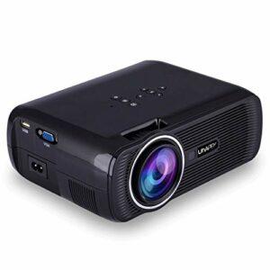 Projecteur, natif 1080P projecteur LED 1000 Lux Projecteur Vidéo Full HD, Maison et extérieur Projecteur Compatible avec TV Stick, HDMI, VGA, USB, Android, SD (Color : Black)