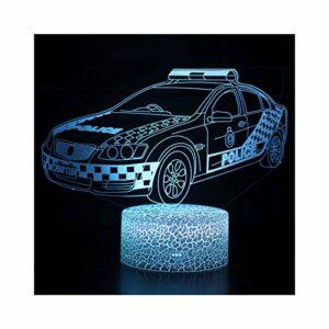 TIDRT Éclairage 3D Symphonie Lumière LED Modèle De Voiture De Police Garçon Veilleuse Enfants Fille Chambre Décoration Cadeau Créatif Lumière