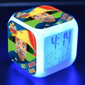TYWFIOAV Sam le pompier – Réveil pour enfants – LED – Changement de couleur – Horloge numérique – Lumière de rosée lumineuse
