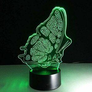 Veilleuse 3D en forme de papillon, illusion d'optique, veilleuse 7 couleurs, veilleuse visuelle à LED avec décoration télécommandée, adaptée aux cadeaux d'anniversaire des enfants