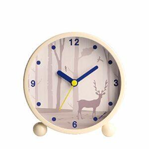 Yangoo Réveils Silencieux pour Enfants Veilleuse de Chevet Horloge de Réveil Musical Mini Réveil de Voyage Mignon Réveil de Bureau Silencieux Cadeau pour Garçons Filles,B