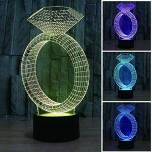 ZSW LED Forme de Diamant Acrylique 3D veilleuse bébé avec Lampe de Couchage Lampe de Chevet coloré Chambre Salon atmosphère Lampe Lampe de Table A-B