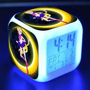 FJNS Sailor Moon Lampe Réveil Enfant avec Veilleuse 7 Couleurs Réveil Numérique Affichage Température Répétition 8 Alarmes Réveil Rechargeable pour Enfants,2