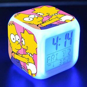 FJNS The Simpsons Lampe Réveil Enfant avec Veilleuse, Numerique Alarm Clock 7 Couleurs Nuit Lampe de Table Réveil avec Température et Snooze avec 8 Réveils,5