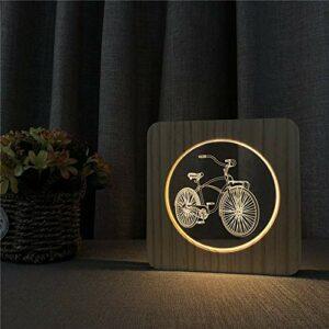 Forme de bicyclette lampe de table en bois massif veilleuse nuit commutateur chambre d'enfants décoration lampe de contrôle de gravure