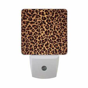 Hunihuni Lot de 2 veilleuses LED à brancher Imprimé léopard avec capteur crépuscule à l'aube pour chambre d'enfant, bébé, fille, garçon ou adulte