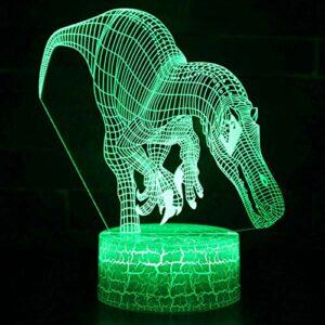IANSISI Veilleuse de Dinosaure 3D pour Enfants, télécommande Tactile 7/16 Changement de Couleur LED Lampe de Bureau Enfants Anniversaire Cadeau de noël décoration de la Maison