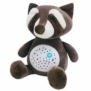 Jouet en peluche pour bébé en forme de raton laveur et de vache bleue avec projecteur de bruit blanc, veilleuse, cadeau pour bébé fille garçon (raton racon)