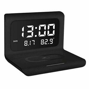 JVSISM RéVeil Mince avec Date de Chargement sans Fil TempéRature Snooze LED Veilleuse Pliable NuméRique pour Chambre à Coucher, Noir
