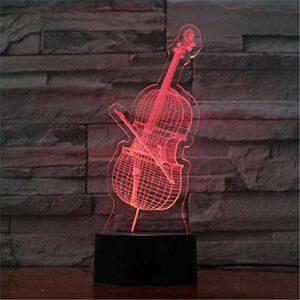 LBJZD veilleuse 3D Veilleuse Violoncelle Lampe Led Ampoule Interrupteur Tactile Lumières Cadeaux D'Anniversaire Vacances Éclairage Maison Boutique Décorer Avec Télécommande