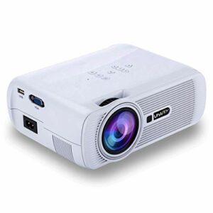 Mini projecteur, 1080P et 130 » affichage pris en charge, 1000 Lux Projecteur vidéo portable avec 20 000 heures LED vie de la lampe, Compatible avec TV Stick, PS4, HDMI, VGA, SD et USB