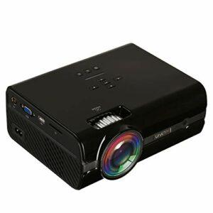 Mini-projecteur, LED HD 1080P, 1600 Lux Projecteur vidéo portable avec 20 000 heures LED vie de la lampe, Compatible avec TV Stick, HDMI, VGA, SD et USB (Color : Black)