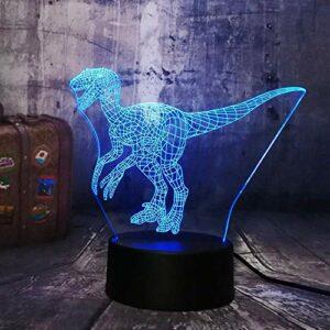 Nouveau monde jurassique dinosaure Raptor intelligent bleu 3D LED veilleuse lampe de Table vacances 7 couleurs garçon enfants fête cadeau