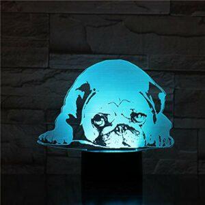 Onlymygod Lampe de bureau en forme de chien carlin, illusion 3D, 7 couleurs changeantes, lampe décorative pour enfant, bébé, kit veilleuse LED, cadeau pour chien, batterie et chargement USB