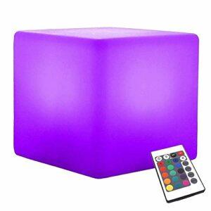 Paddia Creative changeant de couleur LED Cube Tabouret, 16 couleurs claires, 4 couleurs RVB Changement du mode de lumière lumineux, télécommande sans fil, Home Veilleuse Cubic Support roulant Moulding