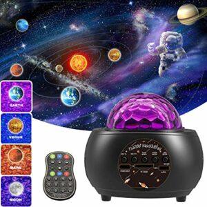 Projecteur Ciel Etoilé , Amouhom Projecteur Galaxie Planète Veilleuse LED Lampe avec Télécommande Bluetooth de Musique pour Enfants Cadeau de Fête ou Cadeau d'Anniversaire Lampe de Chambre Romantique