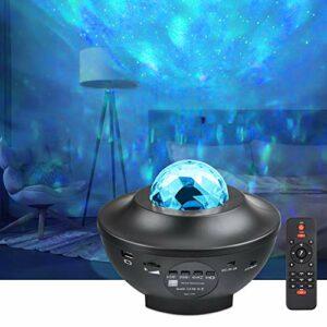 Projecteur ciel etoile UOUNE Lampe Projecteur LED avec télécommande, Haut-parleur Bluetooth/minuteur Fonction Idéal pour veilleuse de chambre, enfants cadeaux