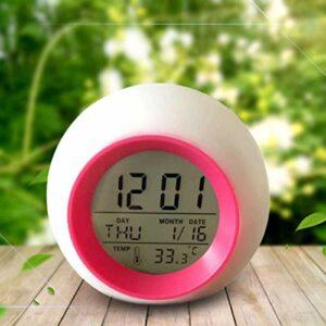 Réveil créatif rond coloré calendrier perpétuel veilleuse lampe de chevet chambre enfant maison blanc