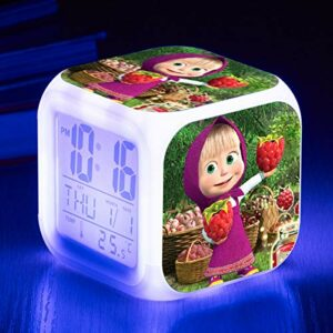 Réveil jouet pour enfants, veilleuse LED à changement de couleur, cadeau d'anniversaire, horloge de table multifonctionnelle