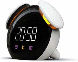 Réveil LED réveil lumière réveil veilleuse Lampe de Chambre Changement coloré USB réveil Multifonction pour Noir-Blanc