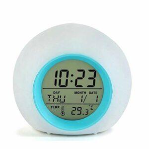 Réveil numérique LED pour enfants avec veilleuse à 7 couleurs changeantes et 6 sons de la nature en option, température intérieure, calendrier, fonction snooze pour enfants, filles, garçons