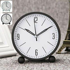 Réveil silencieux, simple réveil de chevet, fonctionne à piles, avec fonction snooze et veilleuse pour chambre à coucher, bureau (noir)