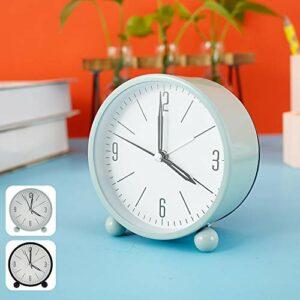 Réveil silencieux, simple réveil de chevet, fonctionne à piles, avec fonction snooze et veilleuse pour chambre à coucher, bureau (vert)