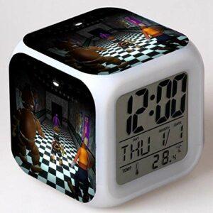 shiyueNB 7 lumières Horloge k Horloge 3D Enfants regardent 3D Cinq Nuits réveil LED avec Mode Veille réveil réveil numérique Multi
