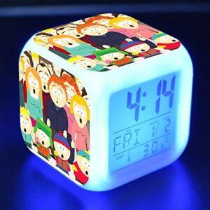 shiyueNB Dessin animé LED Couleur Changeante Horloge numérique Jouet Enfants réveil Bureau Nuit réveil lumière Brillant Cadeau réveil électronique 02
