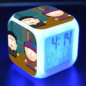 shiyueNB Dessin animé LED Couleur Changeante Horloge numérique Jouet Enfants réveil Bureau Nuit réveil lumière Brillant Cadeau réveil électronique 06