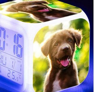 shiyueNB Mignon Chien de Compagnie LED Horloge numérique réveil de la Chambre des Enfants Grand écran capteur Tactile Multifonction Lumineux réveil électronique Blanc