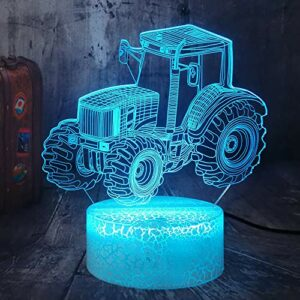 Tracteur Illusion 3D à côté de la lampe de table 16 couleurs changeantes Éclairage à intensité variable USB Charge Touch Table Bureau Veilleuse Chambre Salon Décoration intérieure
