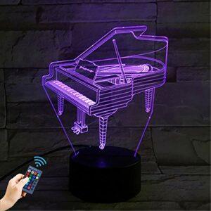 Veilleuse de piano 3D, 16 changements de couleur de la lumière d'illusion optique, bouton tactile intelligent avec télécommande, cadeau de Noël créatif pour les enfants